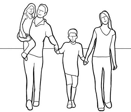 12,让一家人手牵手迎面走过来,连续拍摄,选择各人步伐最好的一张图片
